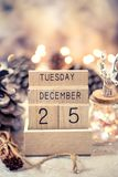 Vintage wooden calendar date 25 and month december royalty free stock images