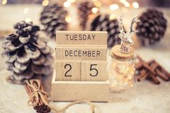Vintage wooden calendar date 25 and month december royalty free stock photography