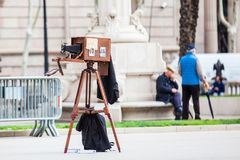 Vintage wooden camera outdoors at the Triumphal Arch in Barcelona. Spain Stock Image