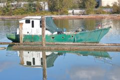 Narrow Wooden Canal Boat Royalty Free Stock Photos
