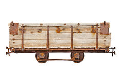 Vintage wooden car for narrow-gauge railway Stock Photos