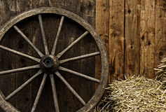 Vintage wooden carriage wheel Stock Photography