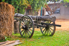 Vintage wooden cart. On the farm Stock Image