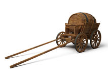 Vintage wooden cart with barrel Royalty Free Stock Photography