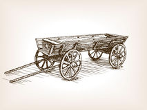 Vintage Wooden Cart Hand Drawn Sketch Vector Royalty Free Stock Photography