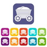 Vintage wooden cart icons set Stock Images