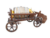 Vintage wooden cart with wine barrel, basket and pumpkin isolate Royalty Free Stock Image