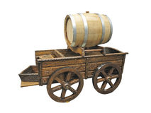 Vintage wooden cart with wine barrel isolated over white Stock Photos
