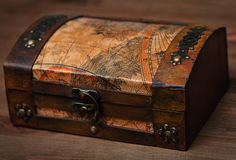 Vintage wooden casket in the form of an old chest Royalty Free Stock Photos