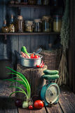 Vintage wooden cellar with fresh herbs and vegetables. Rustic theme royalty free stock photography