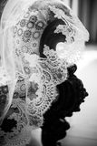 Vintage wooden chair covered with a veil Stock Images