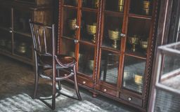 Vintage Wooden Chair And Old Collection stock photos