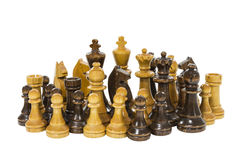 Vintage Wooden Chess Pieces Royalty Free Stock Photos