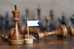 Vintage wooden chess pieces on an old chessboard. Stock Photography