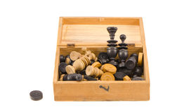 Vintage wooden chess in wooden box on white Royalty Free Stock Photos