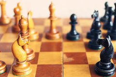 Vintage wooden chess Royalty Free Stock Photography