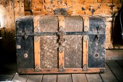 Vintage Wooden Chest Stock Photography