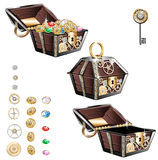 Vintage wooden chest with gold coins and gems royalty free illustration