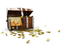 vintage wooden chest with golden coin 3D illustration isolated on white background royalty free illustration