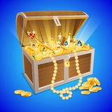 Vintage wooden chest with golden coin. Illustration royalty free illustration