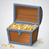 Vintage wooden chest. With golden coin vector illustration on white background EPS10 stock illustration