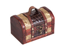 Vintage wooden chest, isolated Royalty Free Stock Image