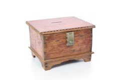 Vintage wooden chest isolated on white background Royalty Free Stock Photos