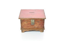 Vintage wooden chest isolated on white background Stock Photo