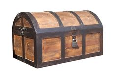 Vintage wooden chest with key lock isolated. On white background, Work with clipping path royalty free stock photo