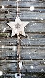 vintage wooden christmas decoration hanging - rustic holiday background stock images