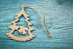 Vintage wooden Christmas toy string on wood board top view celeb Royalty Free Stock Photography