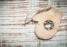 Vintage wooden Christmas tree decoration on wood board celebrati Royalty Free Stock Photos