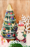 Vintage wooden Christmas tree and  Santa Claus Royalty Free Stock Image