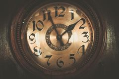 Vintage wooden clock Royalty Free Stock Photos