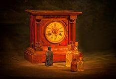 Vintage wooden clock Stock Photos