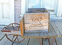 Vintage Wooden Crate. This vintage wooden crate contained 'Whiz' gear grease manufactured by the R.M.Hollingshead Company in Camden, New Jersey Stock Photos