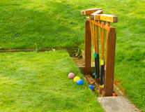 Vintage Wooden Croquet Set Royalty Free Stock Photography