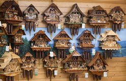 Vintage wooden cuckoo clocks wall, Triberg, Germany. Royalty Free Stock Photography