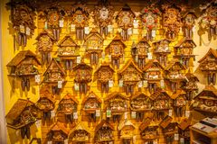 Vintage wooden cuckoo clocks wall, Triberg stock images