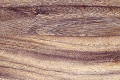 Oak Cutting Board with Scratches. Vintage wooden cutting board with scratches. Image shot from above in flat lay position stock photos