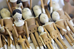 Vintage wooden dolls stock photography