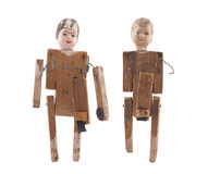 Vintage wooden dolls isolated on white background with clipping path Royalty Free Stock Image