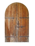 Vintage wooden door isolated over white Royalty Free Stock Photos