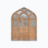 Vintage wooden door on  isolated white background. Royalty Free Stock Image