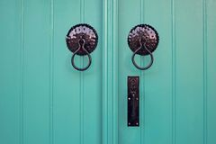 Vintage wooden doors of bright color Stock Photo