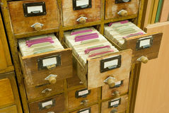 Vintage wooden drawers of archive Royalty Free Stock Image