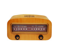 Vintage wooden fashioned radio. Vintage fashioned radio isolated on white background Stock Images