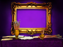 Vintage wooden frame in the artist's studio, purple Stock Image