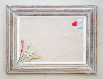 Vintage wooden frame with hearts and flower for Valentine's day Royalty Free Stock Image