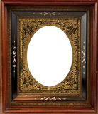 Vintage wooden frame with metal insert Royalty Free Stock Images